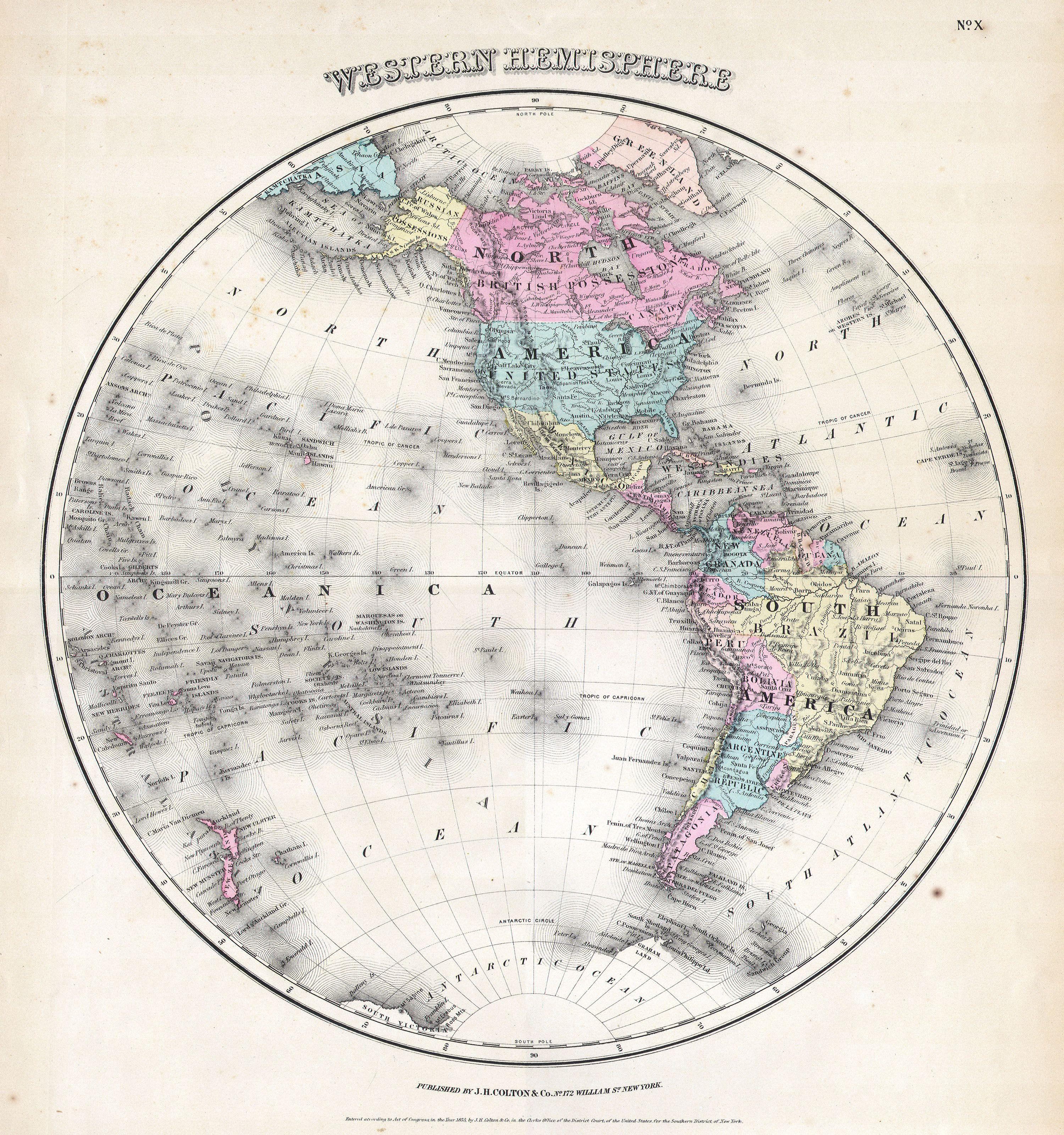 picture about Western Hemisphere Map Printable identified as History:1855 Colton Map of the Western Hemisphere