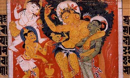 Queen M y miraculously giving birth to Prince Siddh rtha. Sanskrit manuscript. N land , Bihar, India. P la period.