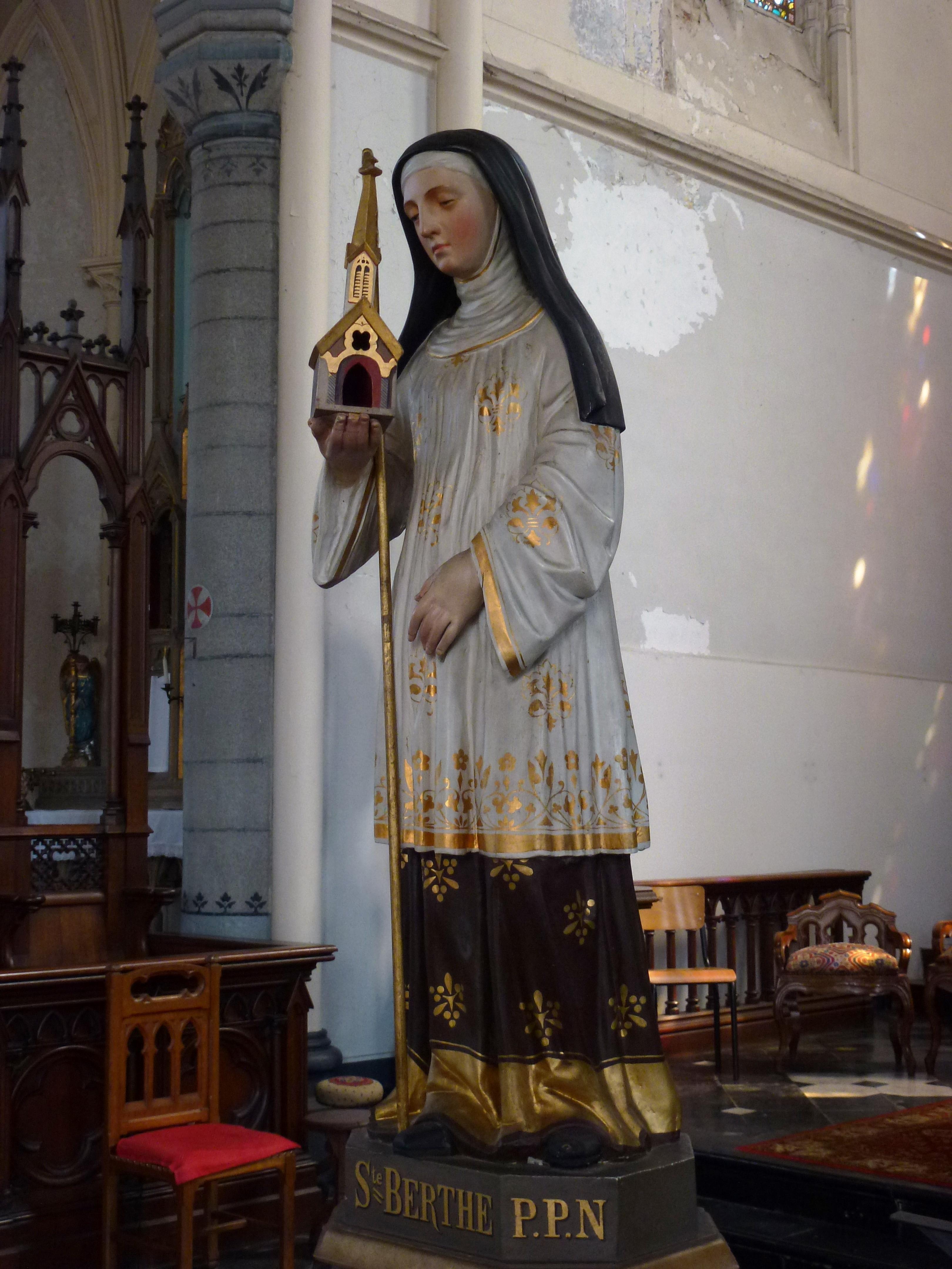 Statue av den hellige Bertha av Avenay i kirken i Auchy-lez-Orchies i departementet Nord i Frankrike