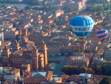 Flying above the Ancient City during the Ferrara Balloons Festival, Italy