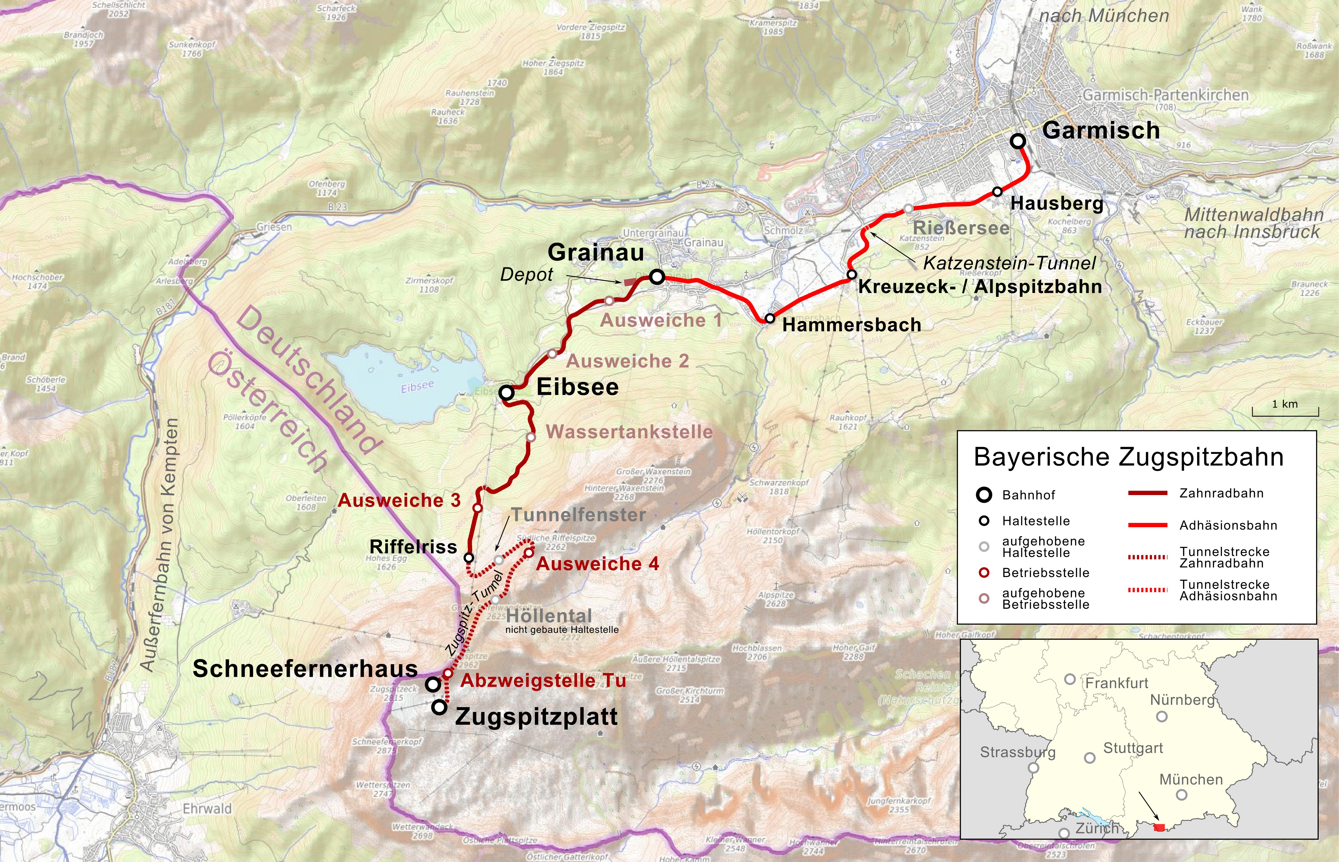 zugspitze karte deutschland Bayerische Zugspitzbahn – Wikipedia