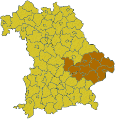Map of Bavaria highlighting the  Regierungsbezirk of Lower Bavaria