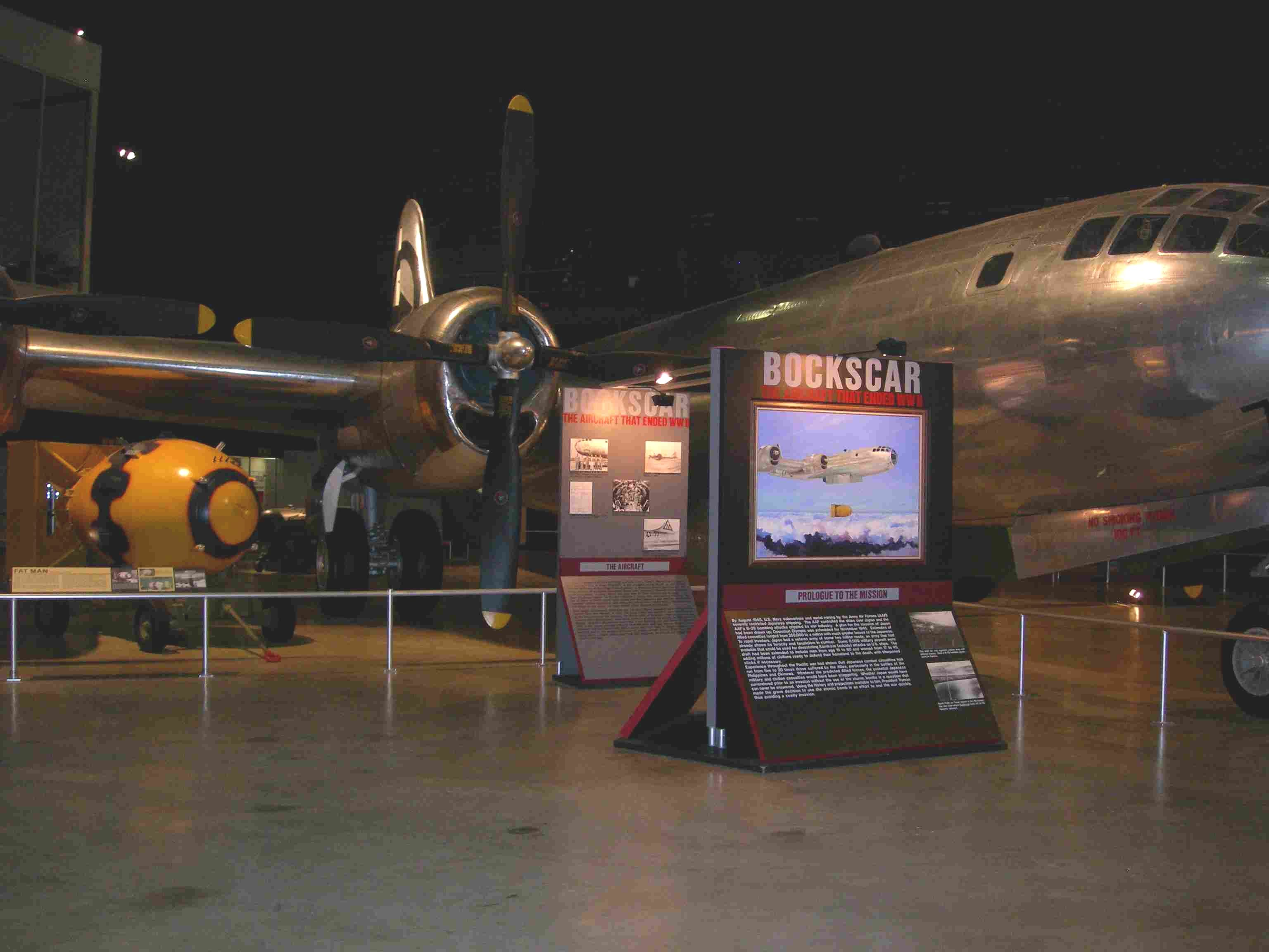 Bockscar and a replica of Fat Man on display at the museum