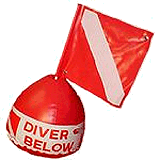 Surface marker buoy Buoy towed by a scuba diver to indicate the divers position