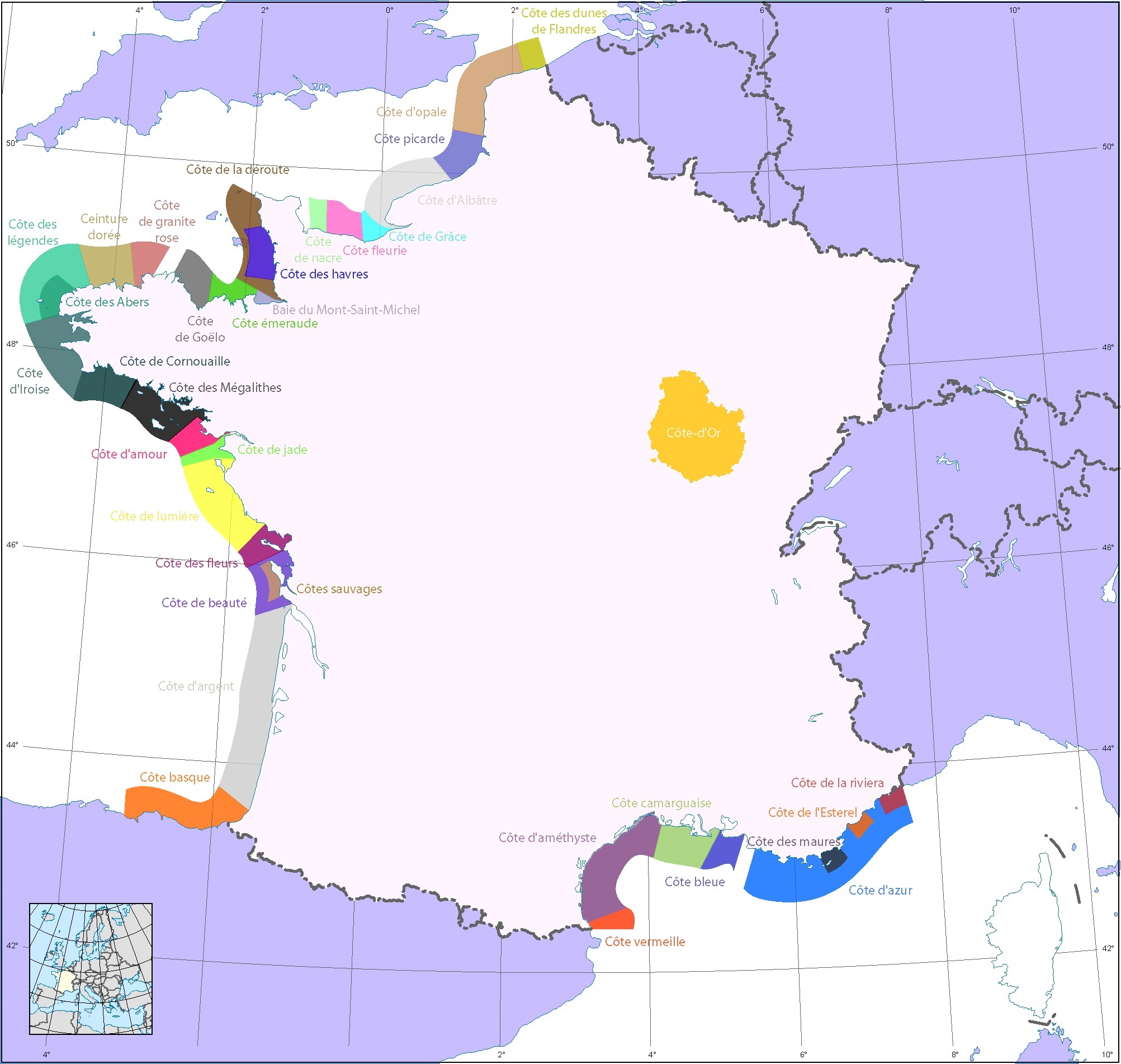 Carte côte atlantique sud ouest