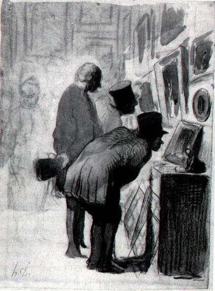 Honoré Daumier (1808-1879): In der Gemäldegalerie (Zeichnung) - Quelle: Wiki-Commons