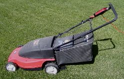 Electric rotary lawn mower with rear grass cat...