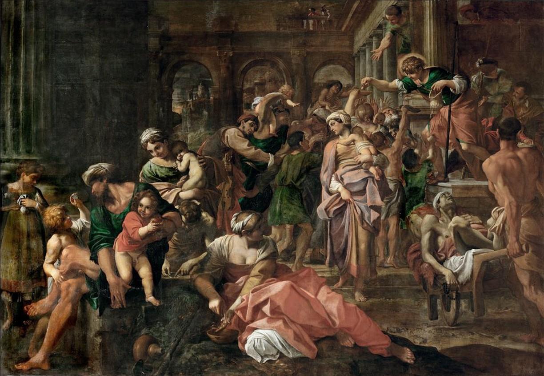 Die Almosenspende des heiligen Rochus
