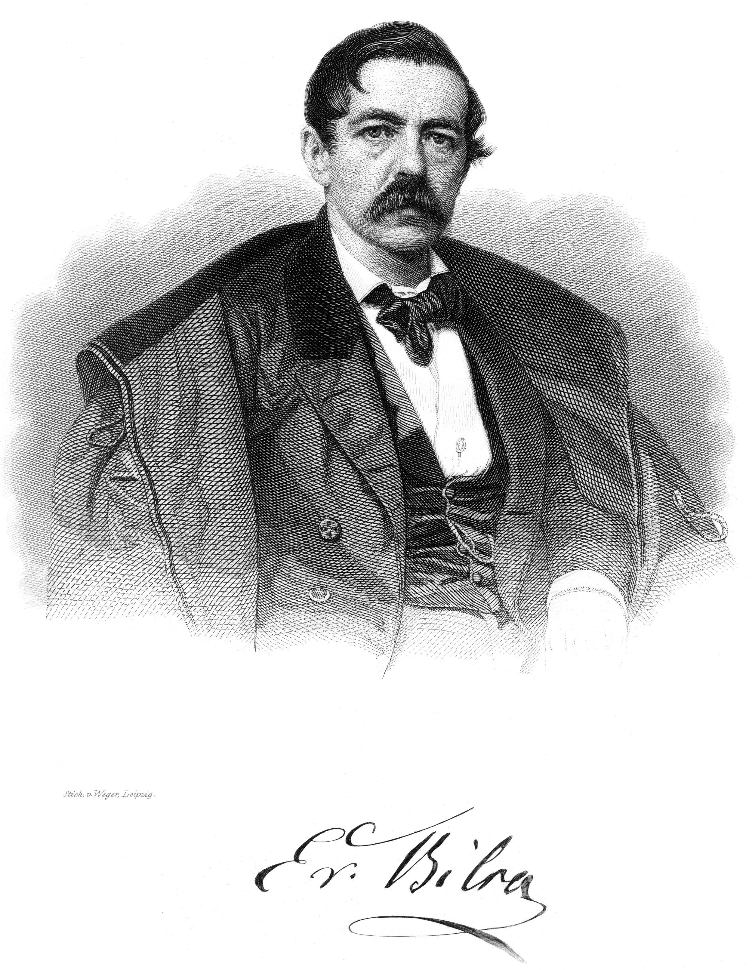 Engraving of Ernst von Bibra by August Weger ca. 1888