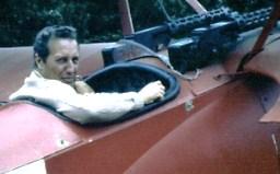 Frederick Forsyth in Lynn Garrison's Triplane, Powersourt, Ireland 1975.jpg
