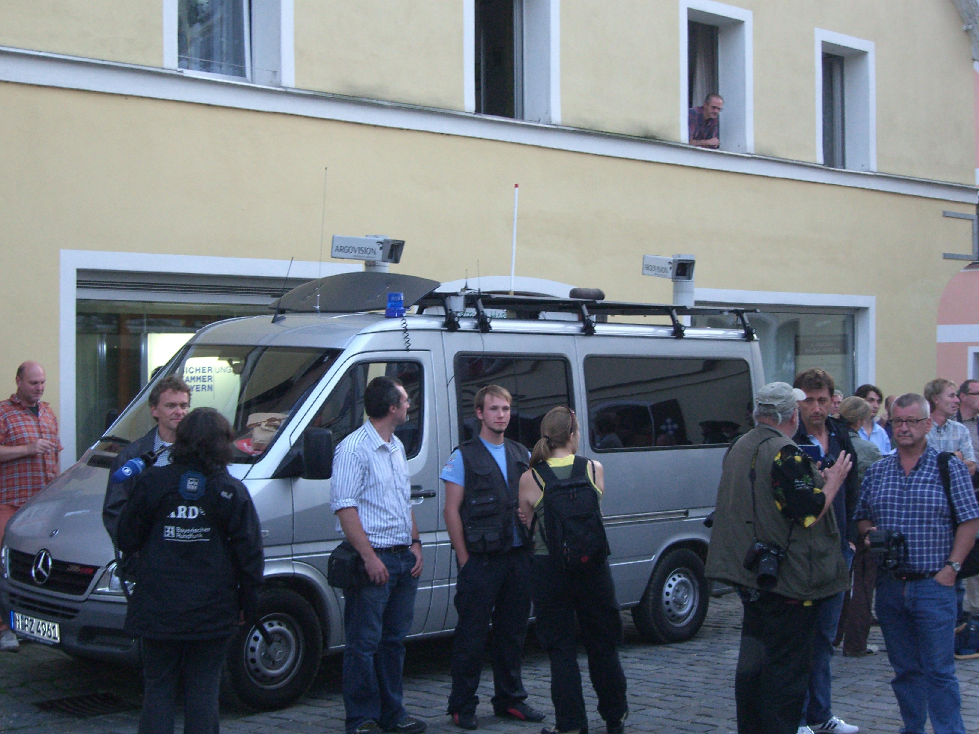 Mobile Videoüberwachung der Polizei auf einer Demonstration