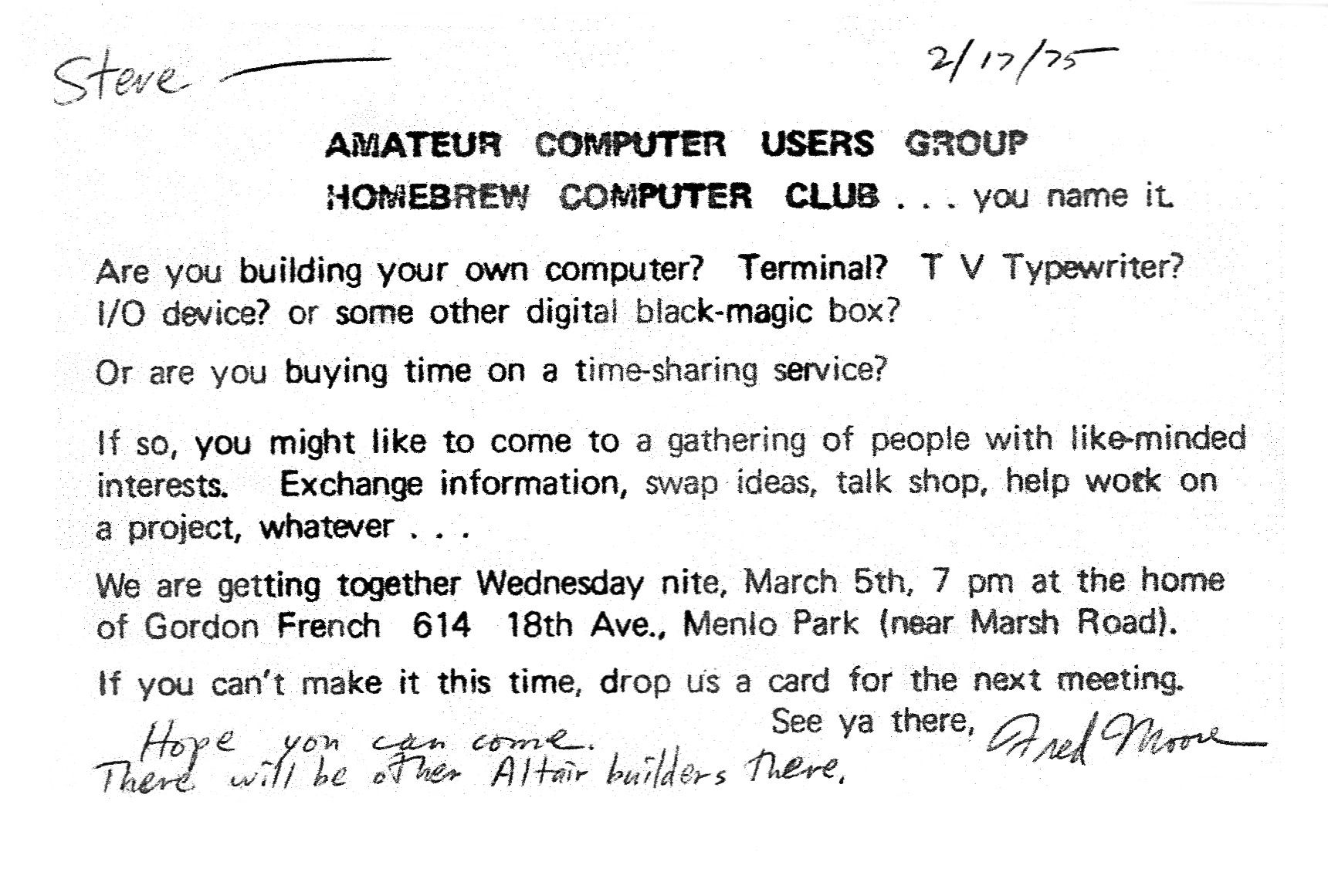 Fileinvitation to first homebrew computer club meetingg fileinvitation to first homebrew computer club meetingg stopboris Gallery