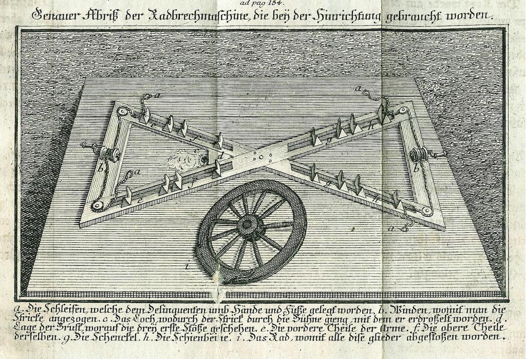 Breaking-wheel machine used to execute Matthias Klostermayr, Bavaria, 1772.