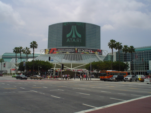 Los Angeles Convention Center during E3 2005, with an Atari banner hanging over the South Hall lobby LA Conference Centre E3 2005.jpg