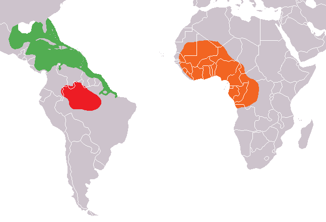 Mapa distribuicao Trichechus