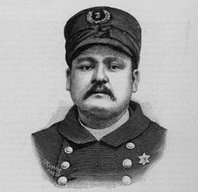 Engraving of police officer Mathias J. Degan, who was killed by the bomb blast. - Haymarket affair