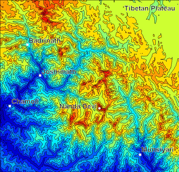 Shaded contour map of Nanda Devi region