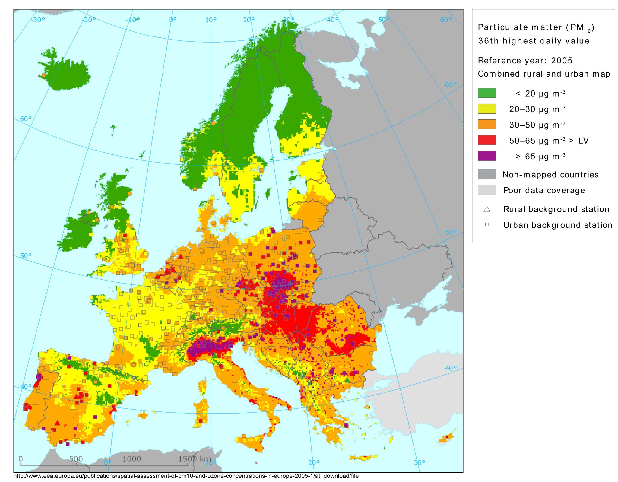Concentrazione di PM10 in Europa. la pianura padana è una camera a gas!