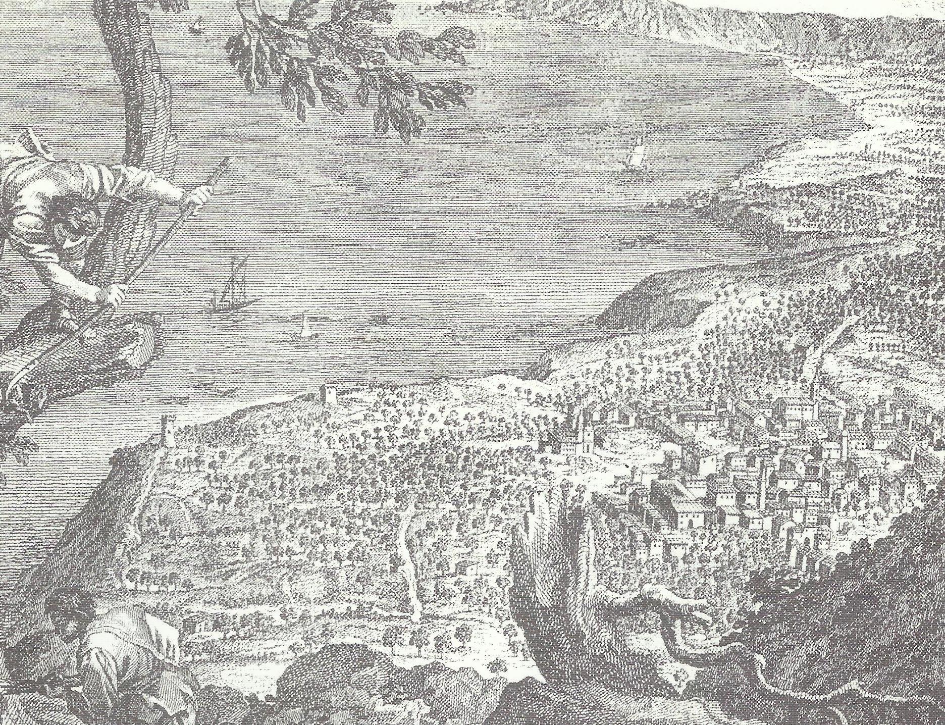 """Disegno di Antonio Minasi del 1779 intitolato """"Prospetto del Faro di Messina riviera di Scilla Costiera di Parma e spiaggia di Gioia"""""""
