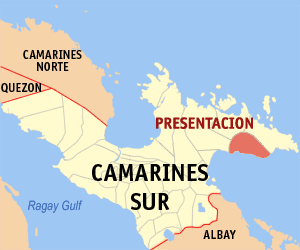 Map of Camarines Sur showing the location of Presentacion