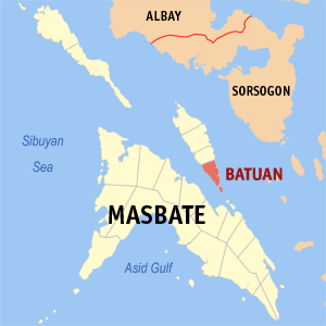 Map of Masbate showing the location of Batuan