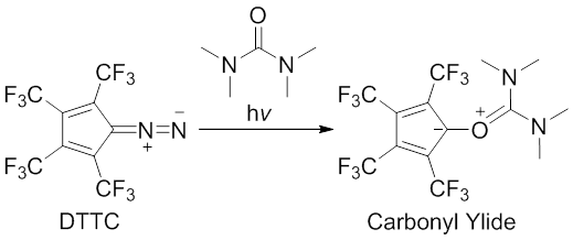 Scheme 1. Photolysis of DTTC in the presence of tetramethylurea. Modified from Janulis, E. P.; Arduengo, A. J. J. Am. Chem. Soc. 1983, 105, 5929.