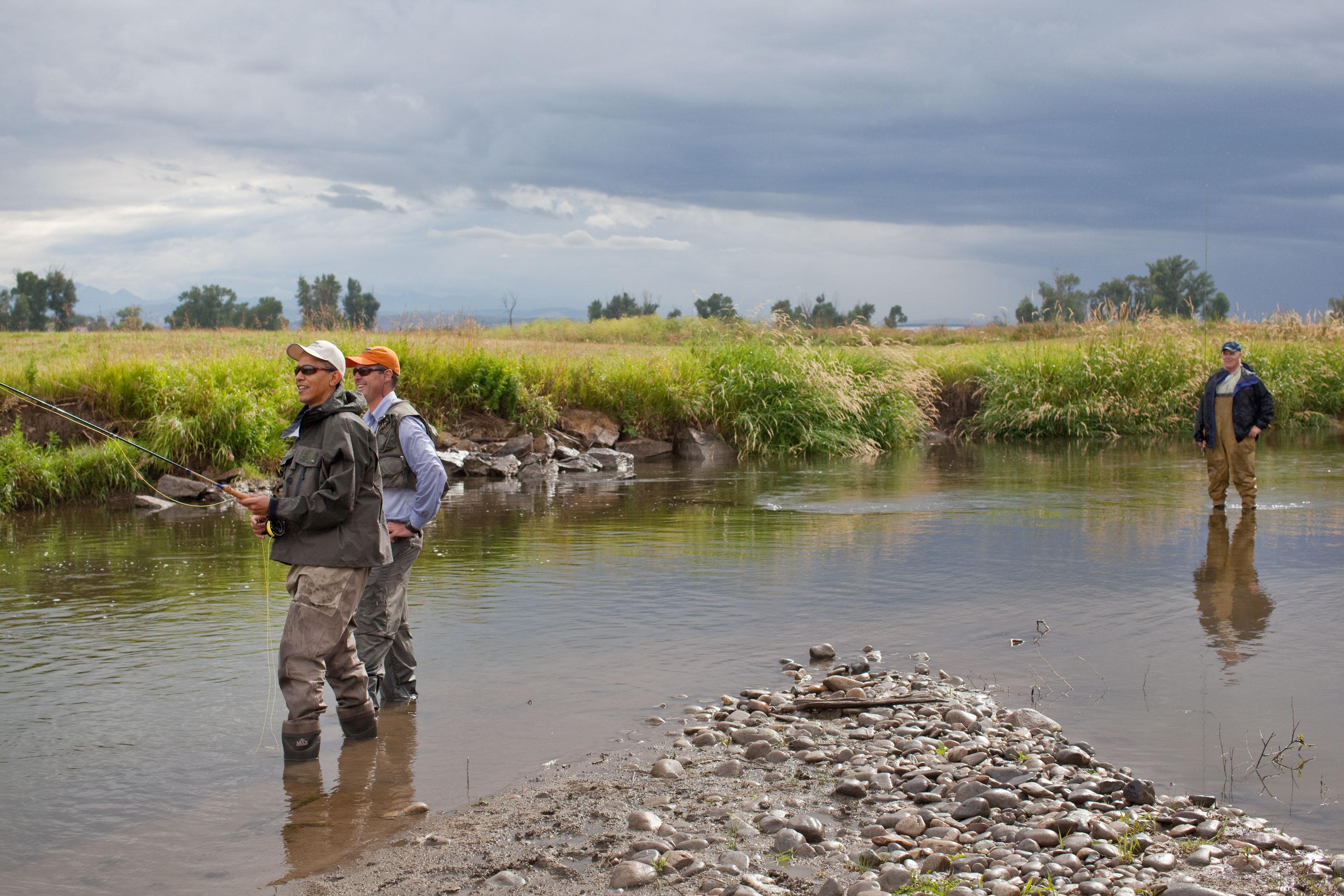 File president barack obama fly fishing near bozeman mont for Bozeman mt fly fishing