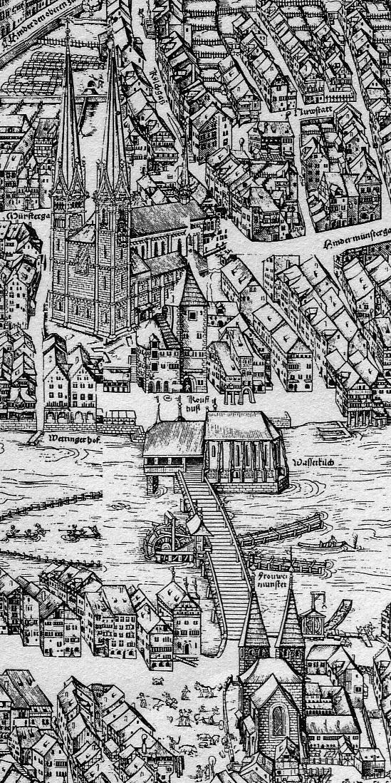 Das Grossmünster in Zürich auf dem Murerplan (1576).