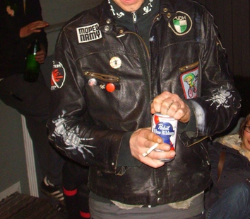 Puddle Cutters (Moped Army) party, black leather jacket with patches