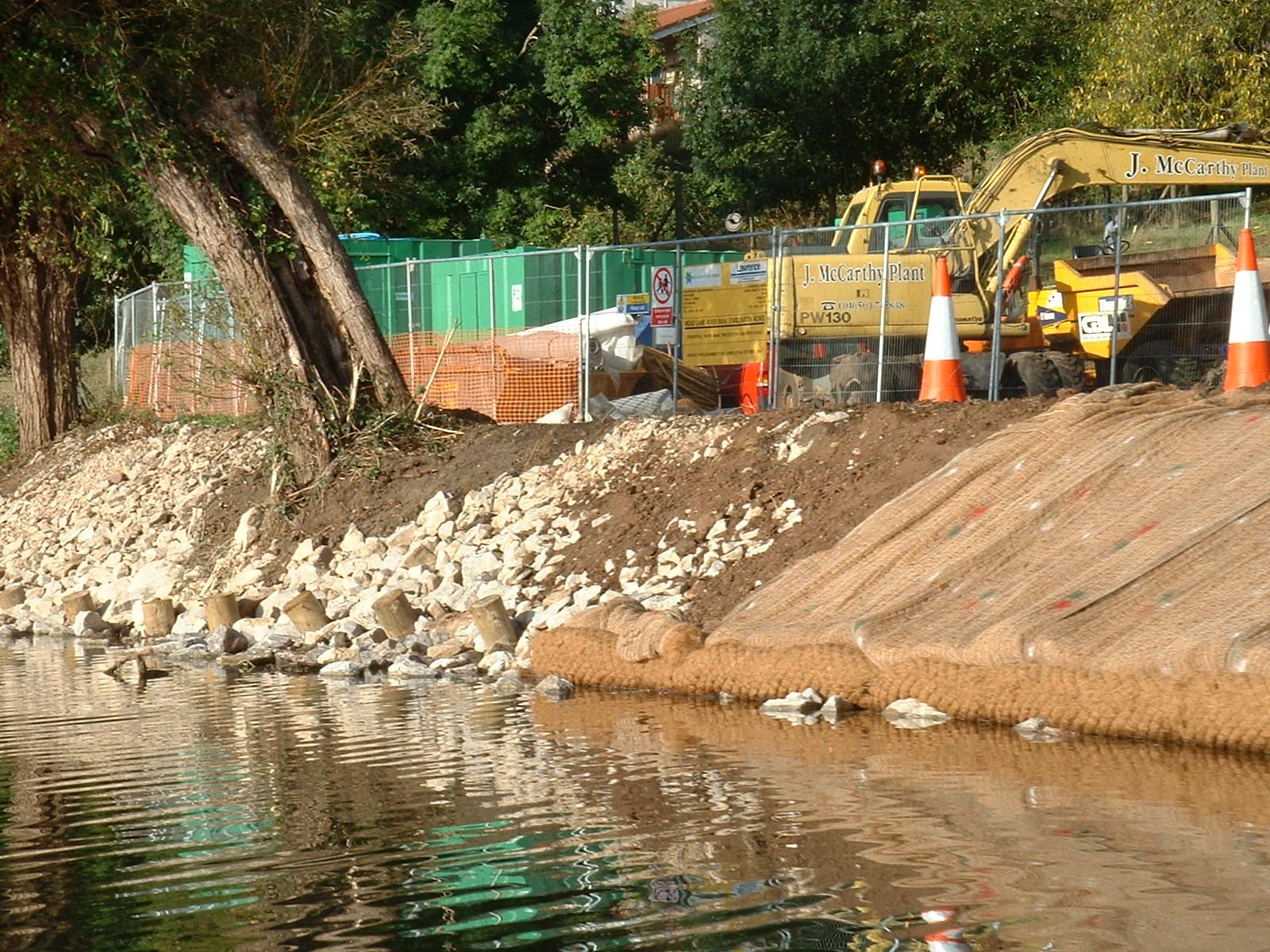 Description river bank repair on the river avon saltford
