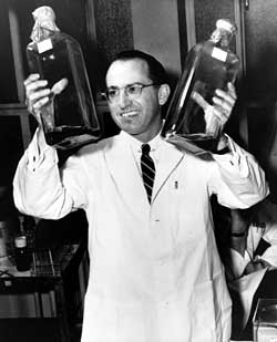 Jonas Salk developed the first polio vaccine at the University of Pittsburgh. SalkatPitt.jpg