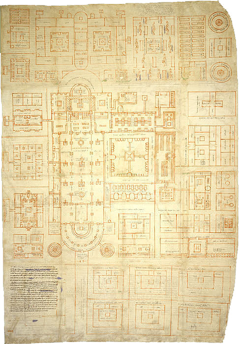 The Plan of St Gall - an extraordinary architectural drawing of the monastic complex, dating to the early ninth century (Stiftsbibliothek Sankt Gallen 1092)