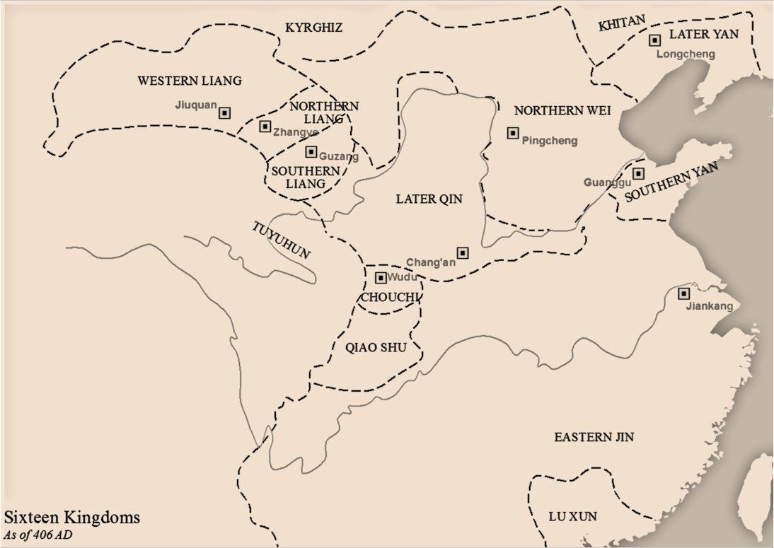 406 年十六国局势,北凉即为图中 Northen Liang