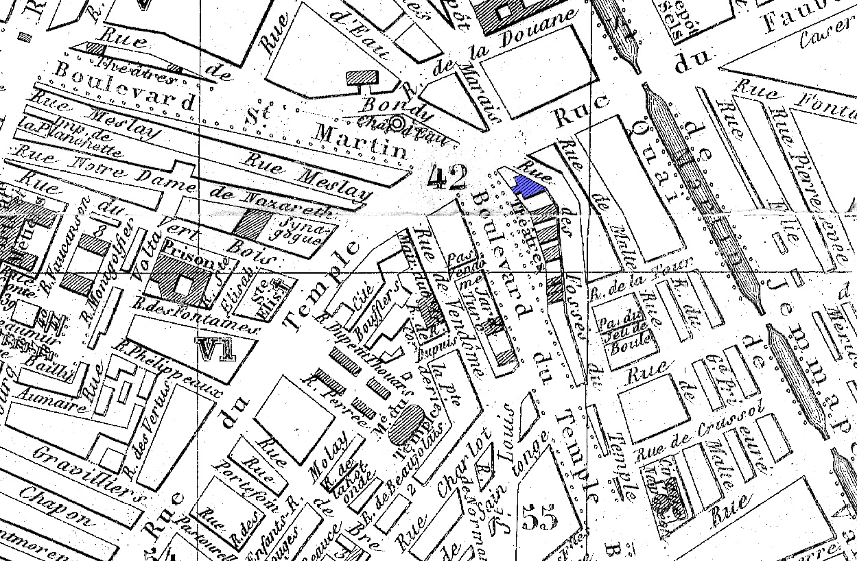File Theatre Historique In Blue On An 1857 Map Of Paris U Chicago