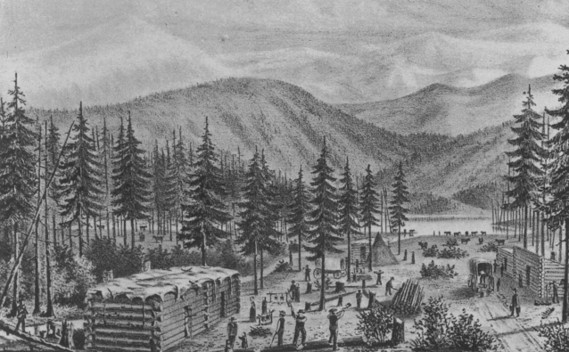 Three log cabins with flat roofs set in the midst of tall trees, with mountains in the background. People, livestock, and covered wagons are engaged in various activities in a clearing in the middle of the cabins.