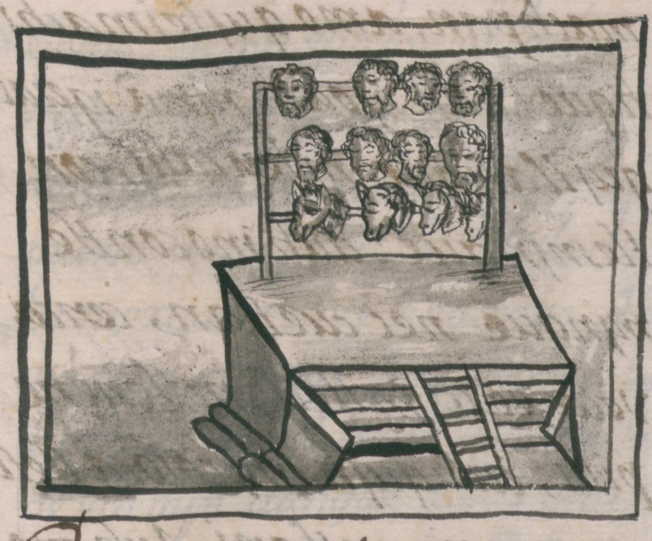 Líbro número doce de el Codice Florentino muestra las cabezas decapitadas de soldados españoles y sus caballos perchadas en un tzompantli frente el templo de Huitzilopochtli