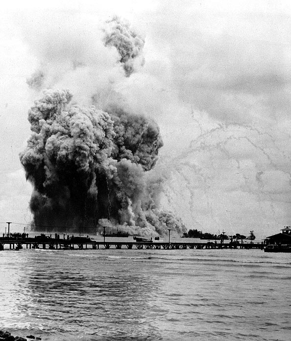 The explosion of the USS Mount Hood (AE-11) in Seeadler Harbor, Manus, Admiralty Islands on November 10, 1944.