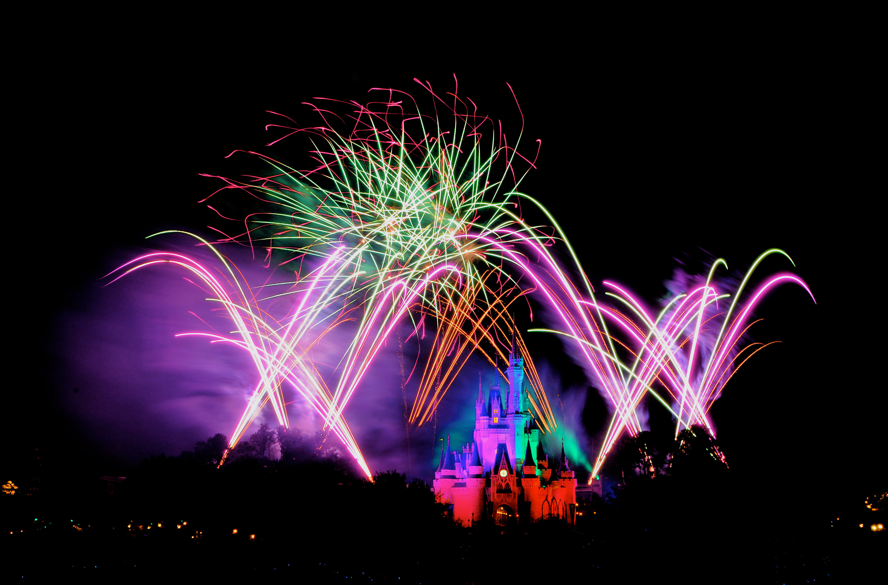 Cinderella Castle with fireworks