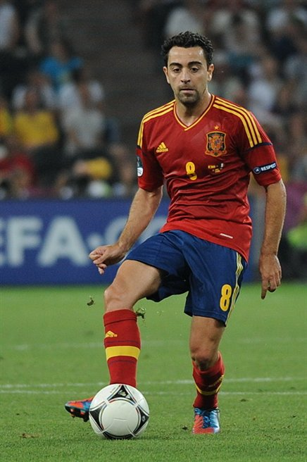 Former Spain midfielder Xavi was voted to the FIFPro World XI eight years in a row. Xavi Euro 2012 vs France 01.jpg