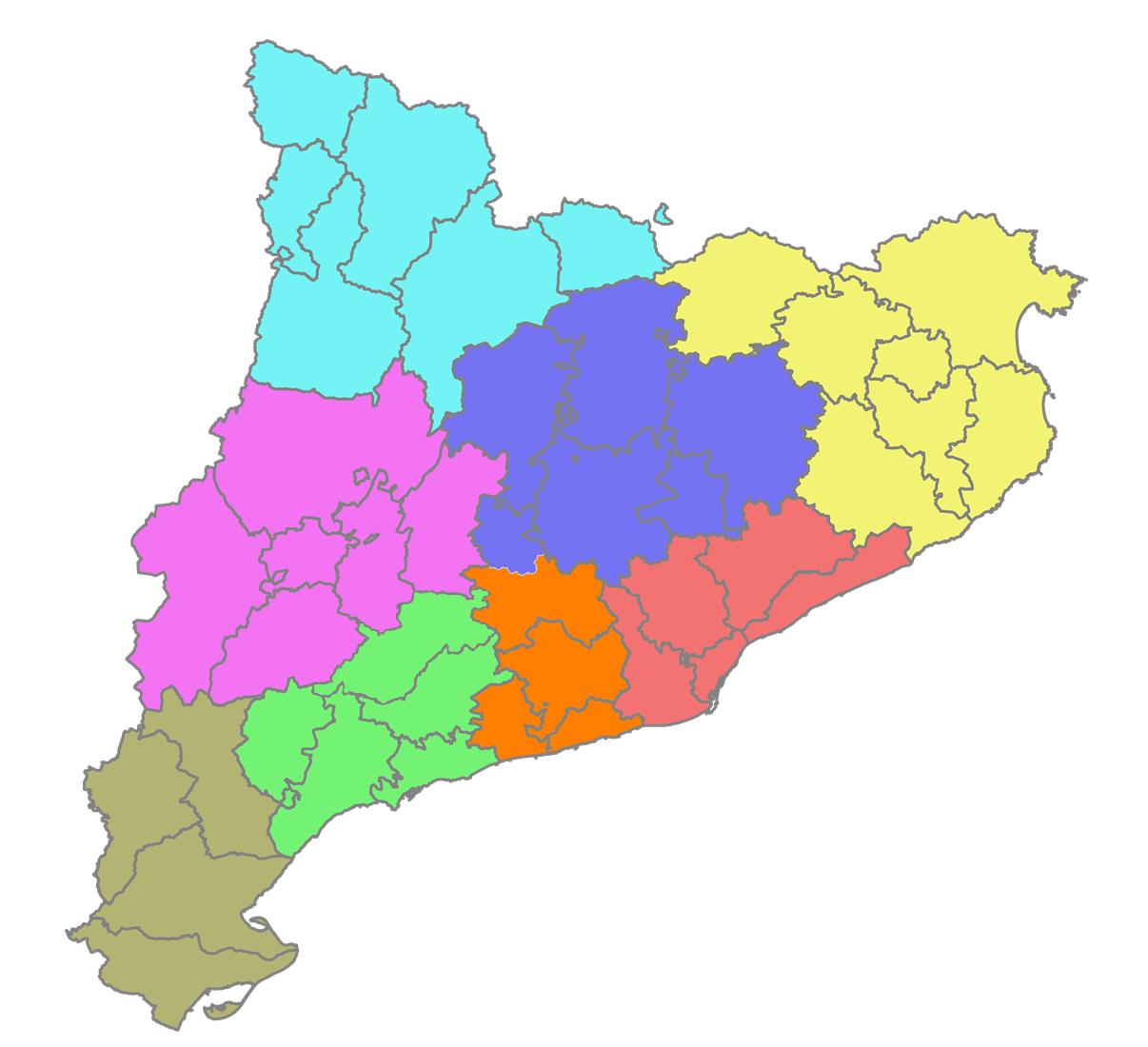 Mapa De Catalunya Provincies.Vegueria Wikipedia