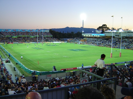 View of the Cowboys home ground, 1300SMILES Stadium 14-05-2005-dairy farmers at dusk.JPG