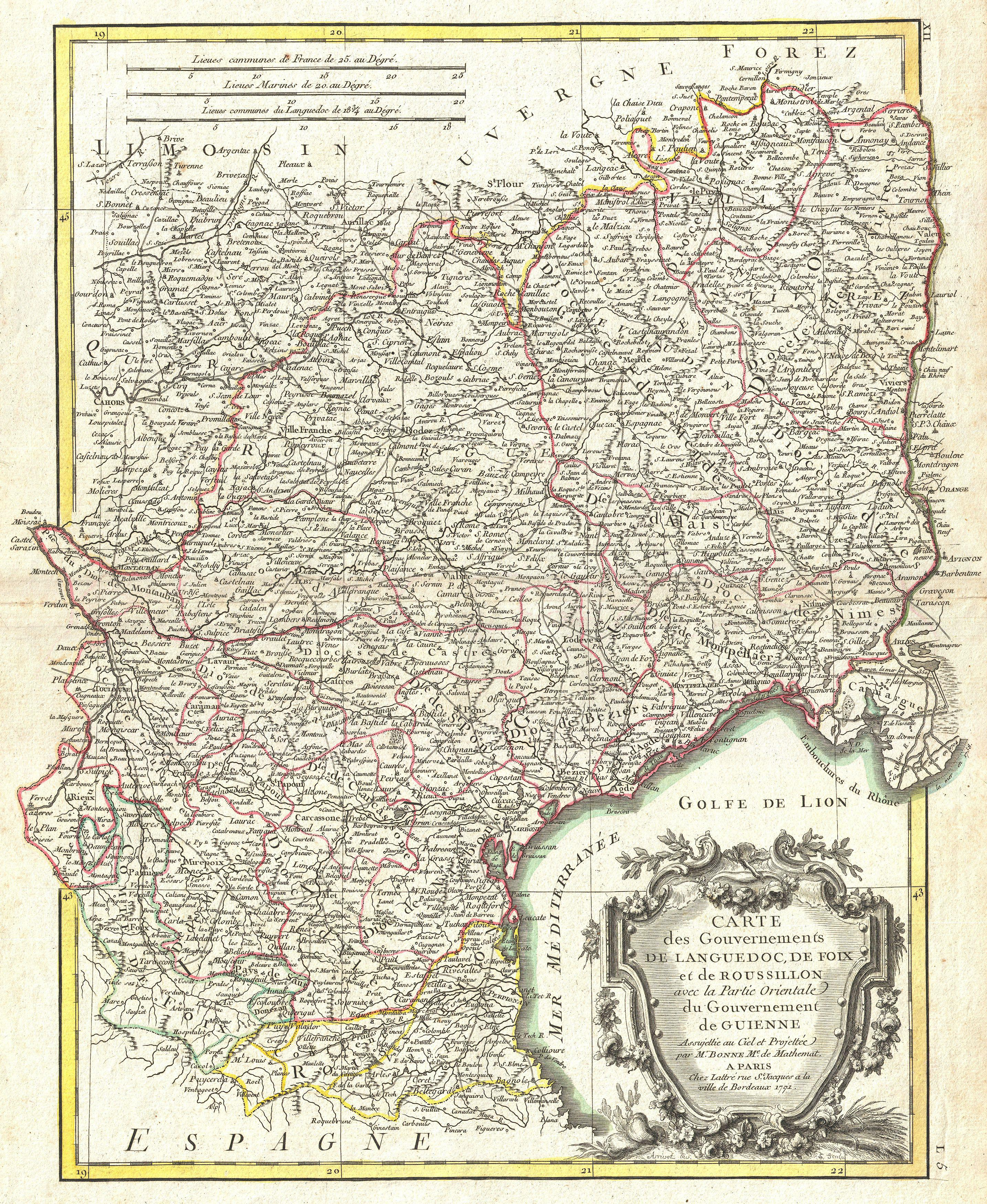 Roussillon France Map.File 1771 Bonne Map Of Languedoc And Roussillon France