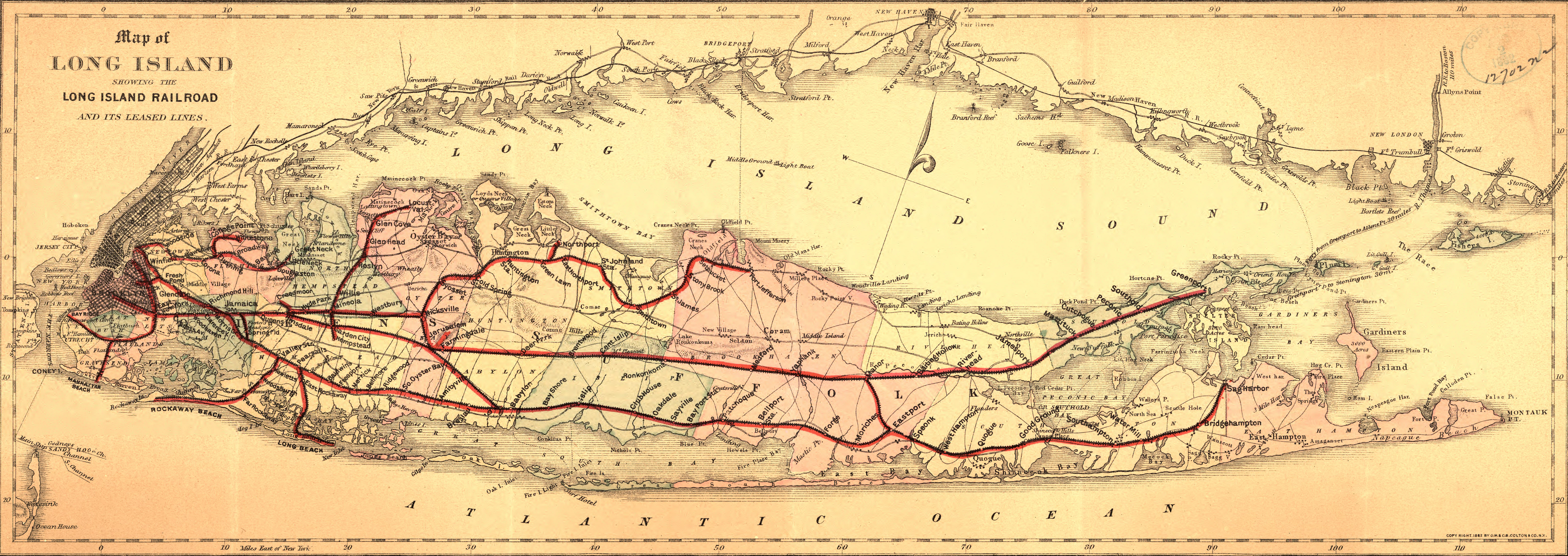 A Map Of The Long Island Rail Road The Oldest In The US Operating - Railway map of us
