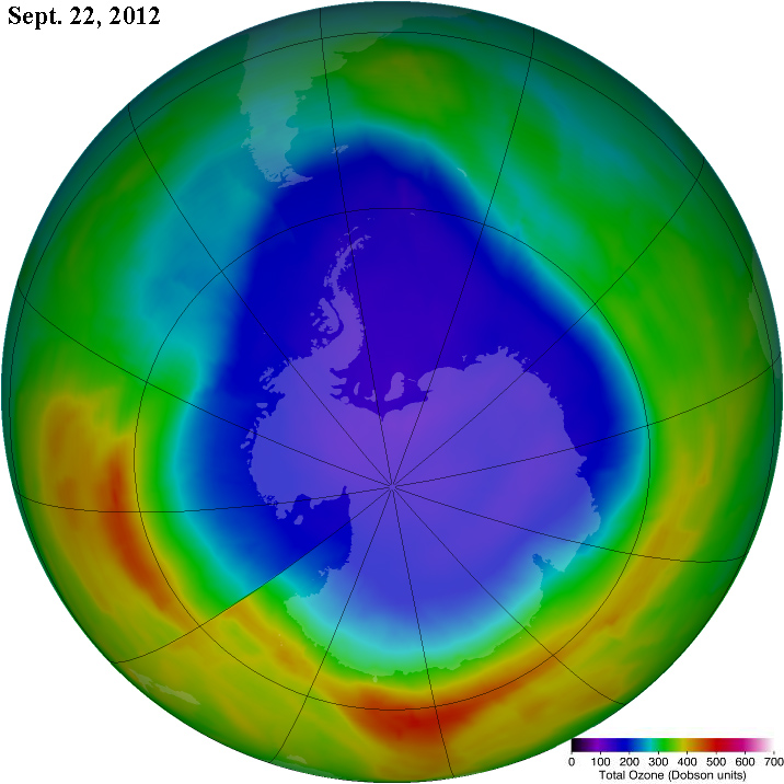 Antarctic Ozone Hole as at Sept. 22, 2012