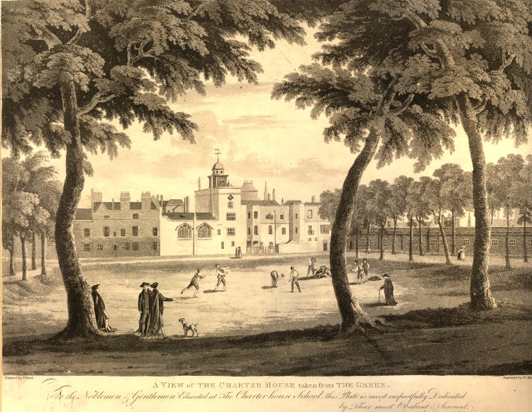 A View of the Charter House taken from the Green, 1813 By Robert Havell - British Museum [1], Public Domain,