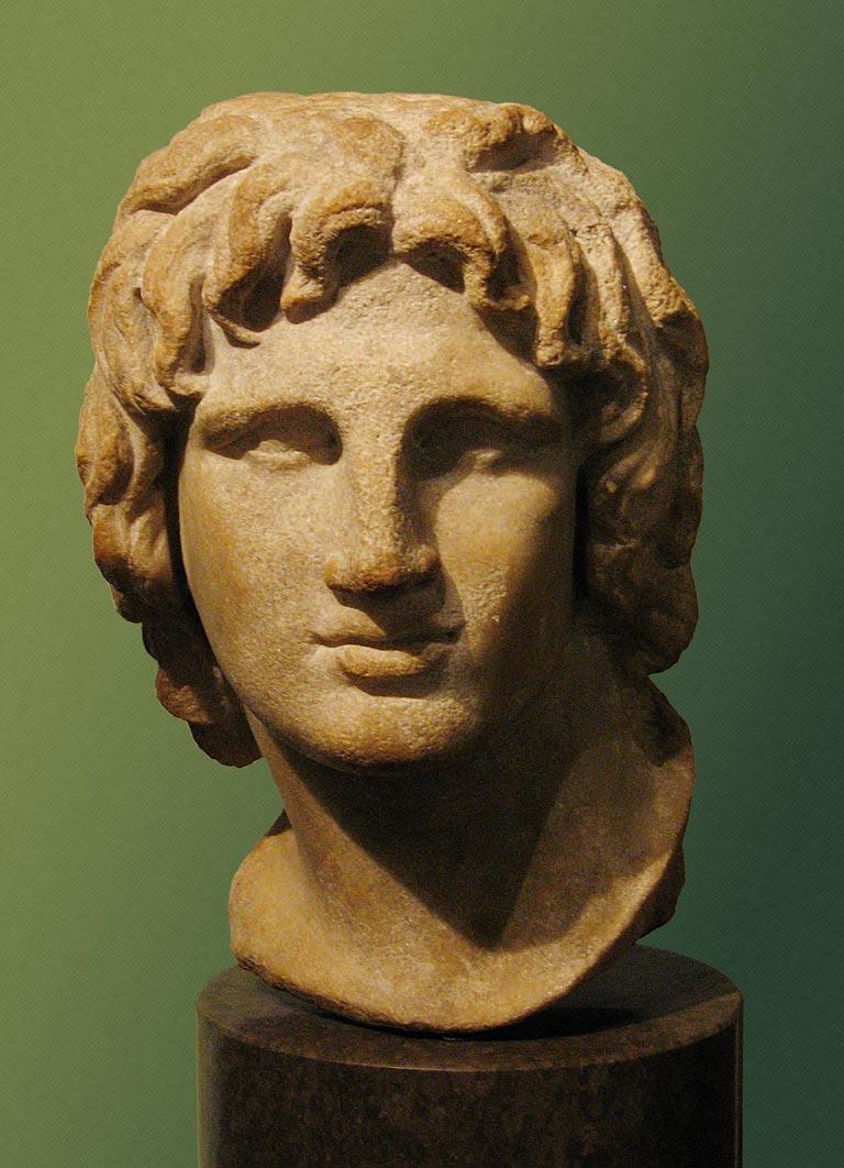 Busto de Alejandro Magno, siglos II-I a. C., proveniente de Alejandría. Museo Británico. Imagen de Wikimedia Commons.