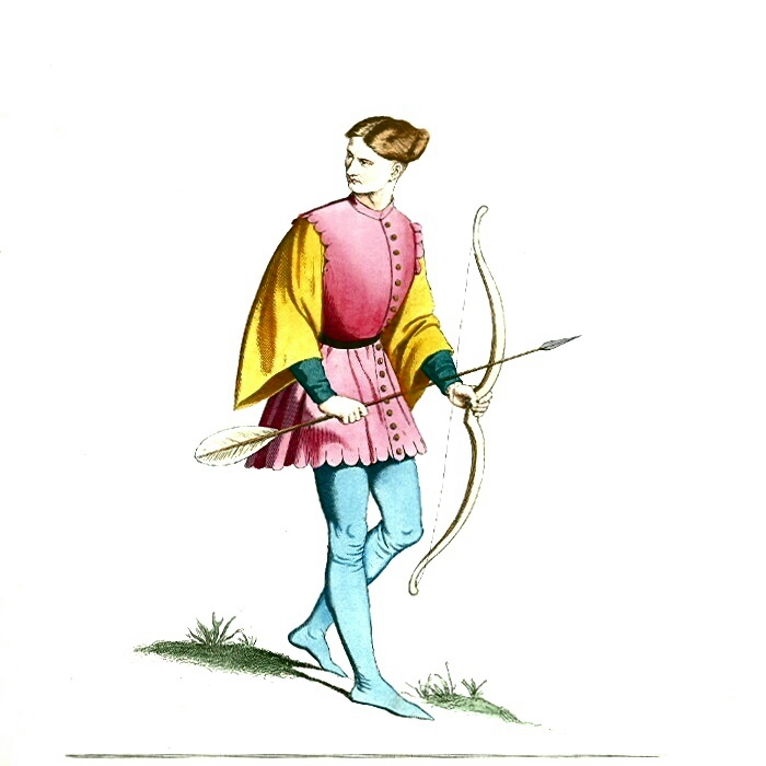 Archer - Man with Bow and Arrow in Medieval Dress or Costume.JPG