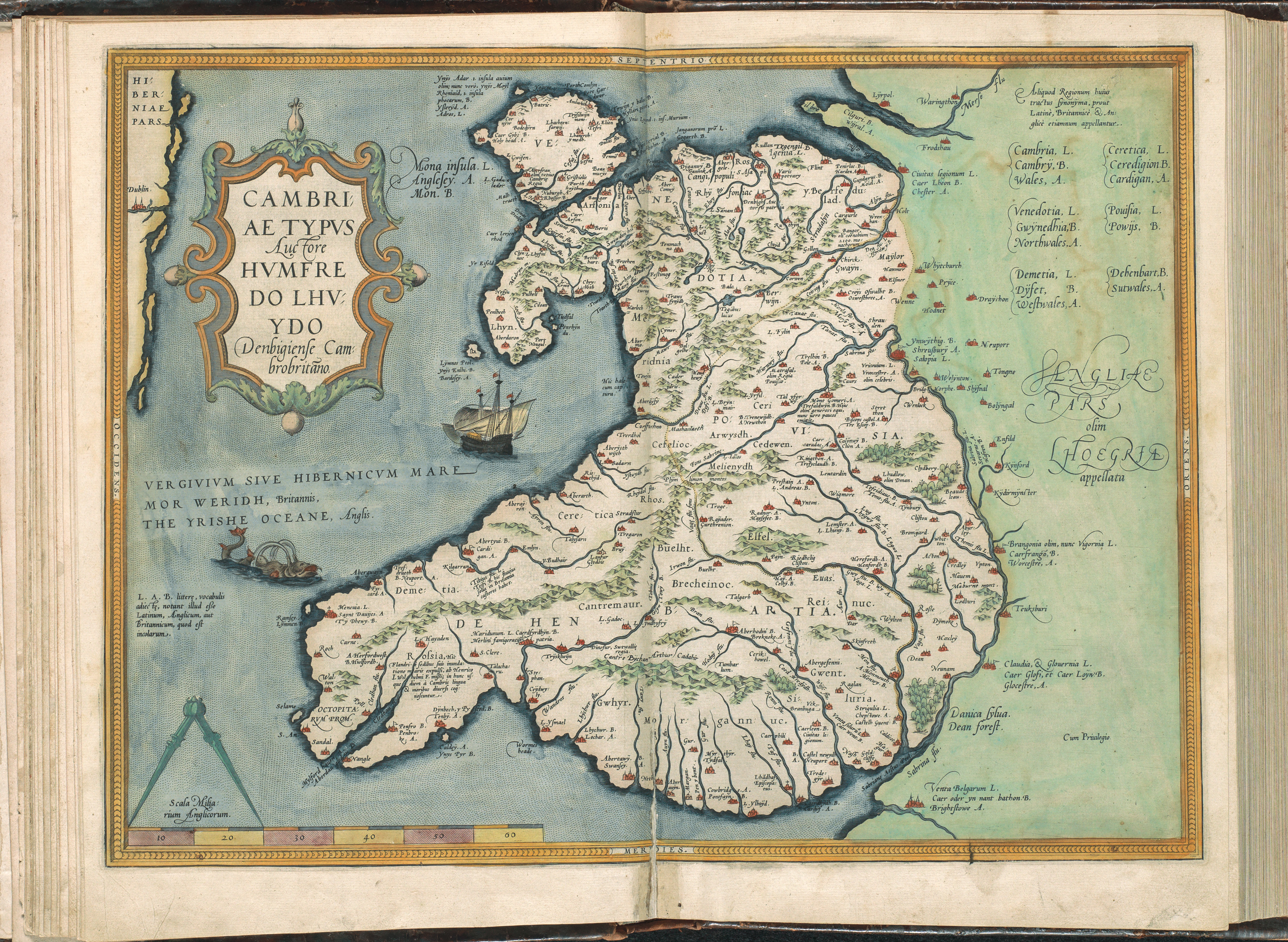 Map of Wales, from Atlas Ortelius by Abraham Ortelius. Original edition from 1571 - Image by Koninklijke Bibliotheek, the Dutch National Library
