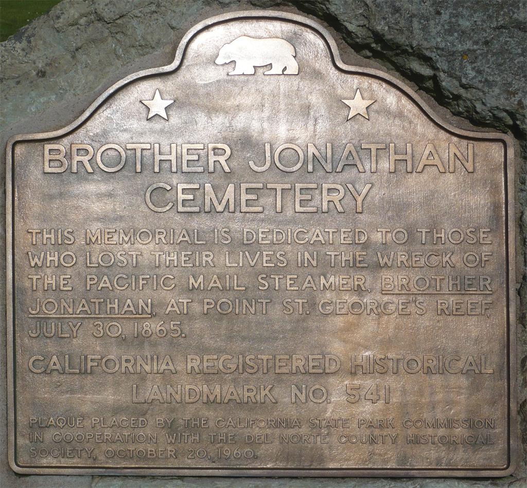 File:BrotherJonathan Marker Crescent City, CA.jpg