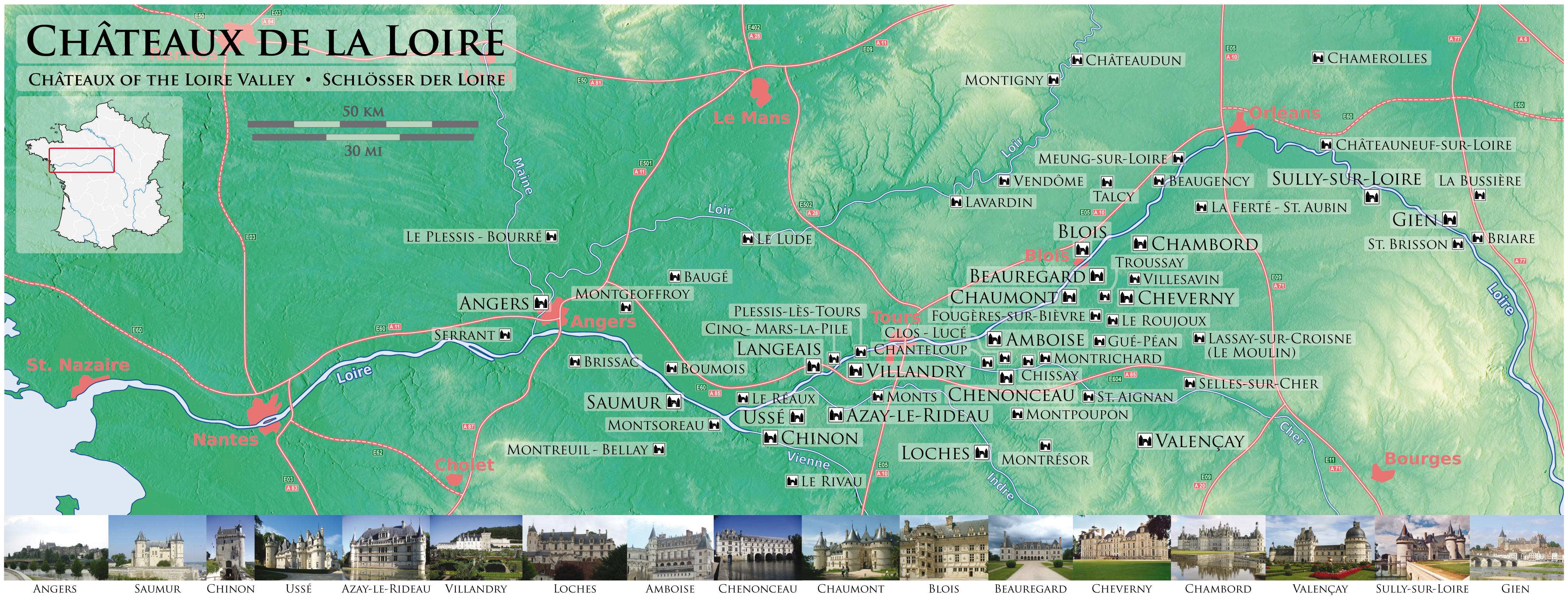 Centre (Регион Центр) Замки Луары на карте